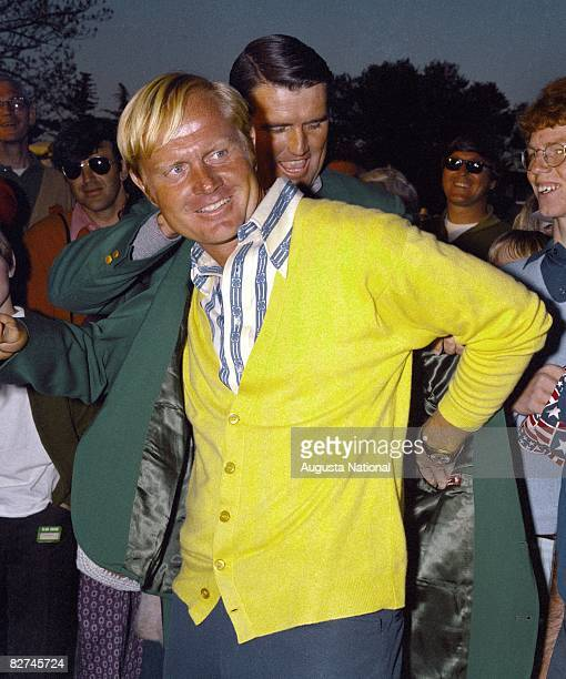 Charles COody presents the Green Jacket to Jack NIcklaus during the Presentation Ceremony during the April 1972 Masters Tournament at Augusta...