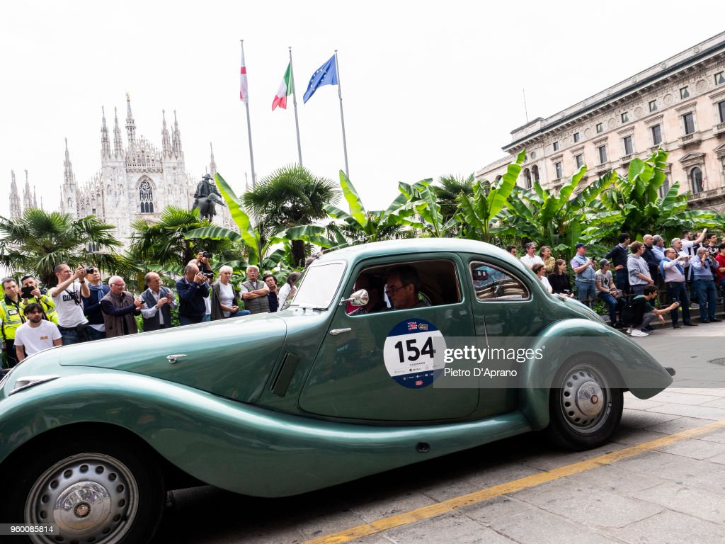 Charles Cook and Mark Richardson on a Bristol 400 on 1000 Miles Historic Road Race May 19, 2018 in Milan, Italy.