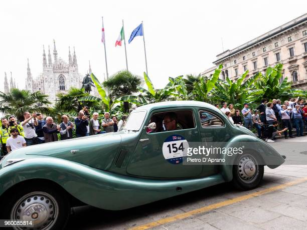 Charles Cook and Mark Richardson on a Bristol 400 on 1000 Miles Historic Road Race May 19 2018 in Milan Italy