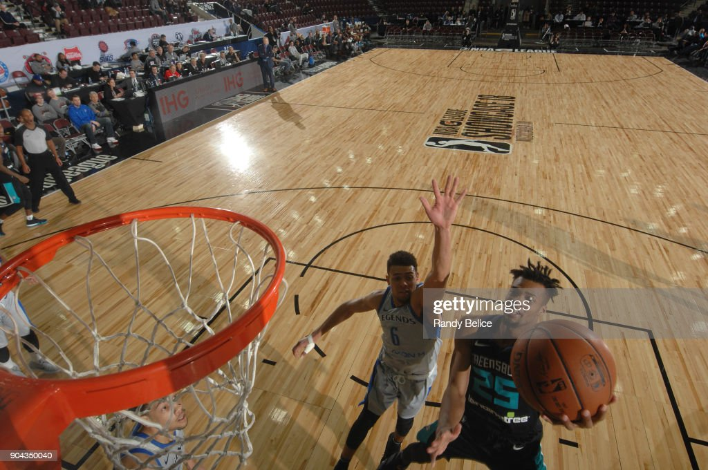Charles Cooke #25 of the Greensboro Swarm shoots the ball against the Texas Legends at NBA G League Showcase Game 17 on January 12, 2018 at the Hershey Centre in Mississauga, Ontario Canada.