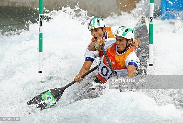 Charles Correa and Anderson Oliveira of Brazil compete during the Men's Canoe Double Slalom heats on Day 3 of the Rio 2016 Olympic Games at the...
