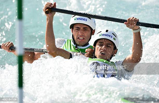 Charles Correa and Anderson Oliveira of Brazil in action in the Men's Canoe Double at Lee Valley White Water Centre on June 6 2014 in London England