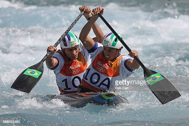 Charles Correa of Brazil and Anderson Oliveira of Brazil compete during the Men's Canoe Double Semifinal on Day 6 of the Rio 2016 Olympics at...