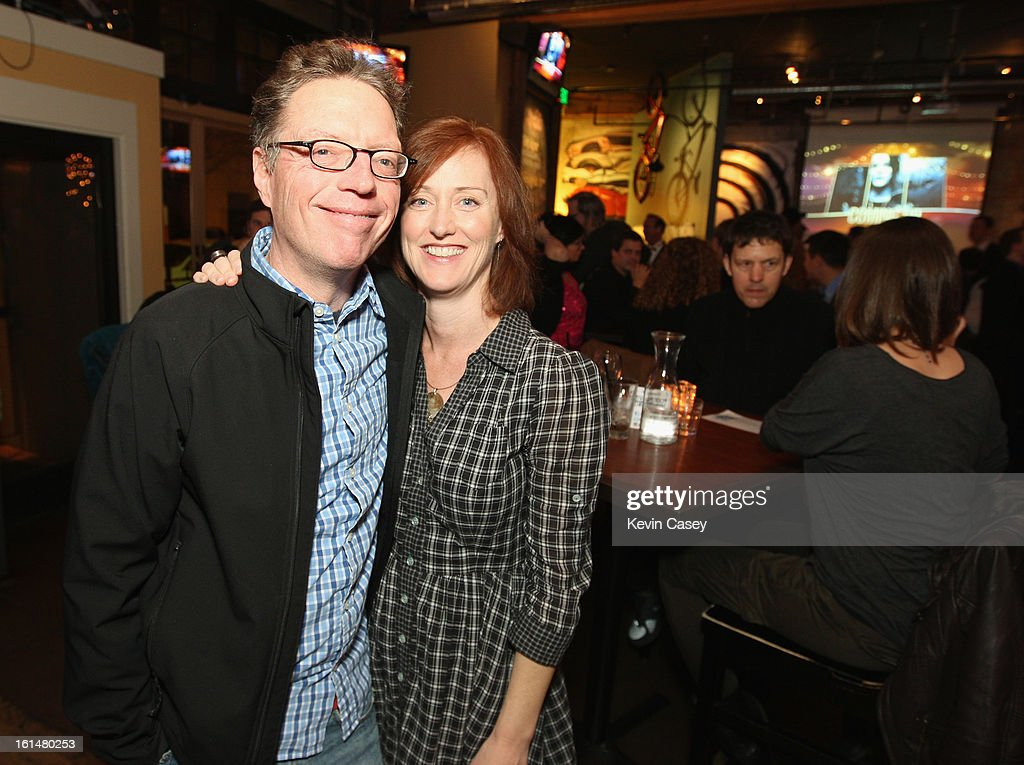 Charles Cross (L), author and his guest, at The Recording Academy's Grammy telecast party at Spitfire on February 10, 2013 in Seattle, Washington.