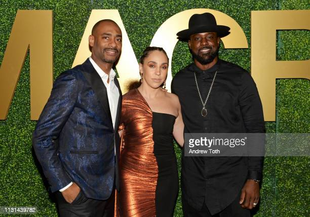 Charles D King Rebecca Jefferson and Lance Gross attend the MACRO PreOscar Party 2019 at Casita Hollywood on February 21 2019 in Los Angeles...