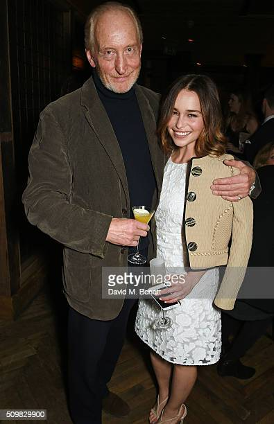 Charles Dance and Emilia Clarke attend Harvey Weinstein's preBAFTA dinner in partnership with Burberry and GREY GOOSE at Little House Mayfair on...