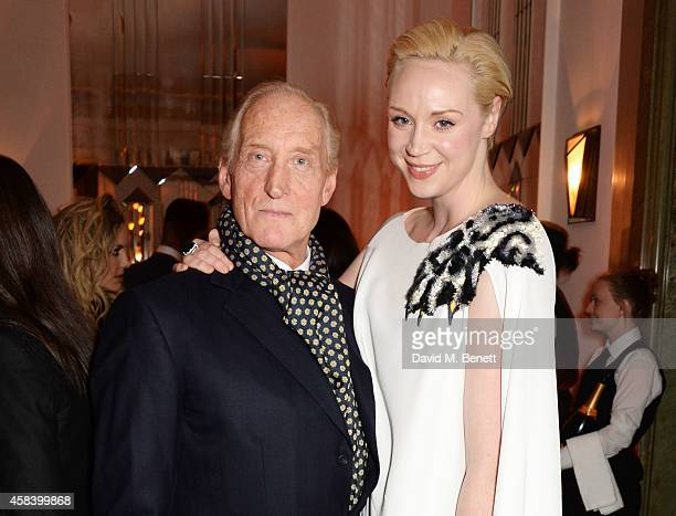 Charles Dance and Gwendoline Christie attend the Harper's Bazaar Women Of The Year awards 2014 at Claridge's Hotel on November 4 2014 in London...