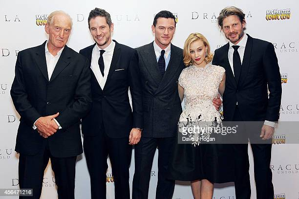 Charles Dance director Gary Shore Luke Evans Sarah Gadon and Noah Huntley attend the UK premiere of Dracula Untold at Odeon West End on October 1...