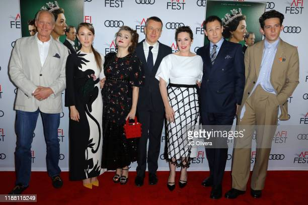 """Charles Dance, Erin Doherty, Helena Bonham Carter, Peter Morgan, Olivia Colman, Tobias Menzies and Josh O'Connor attends the """"The Crown"""" premiere..."""