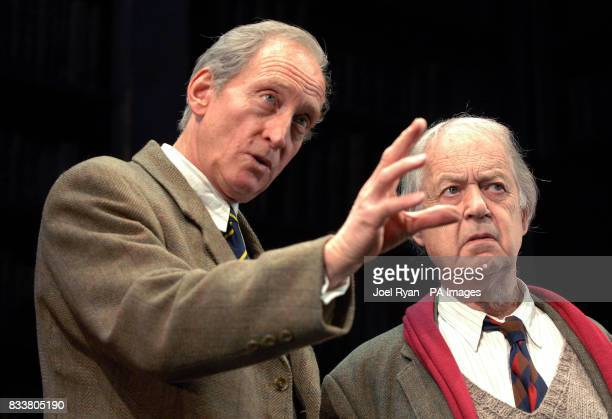 Charles Dance performs as CS Lewis alongside John Standing who plays Prof Christopher Riley during a photocall for Shadowlands at Wyndham's Theatre...