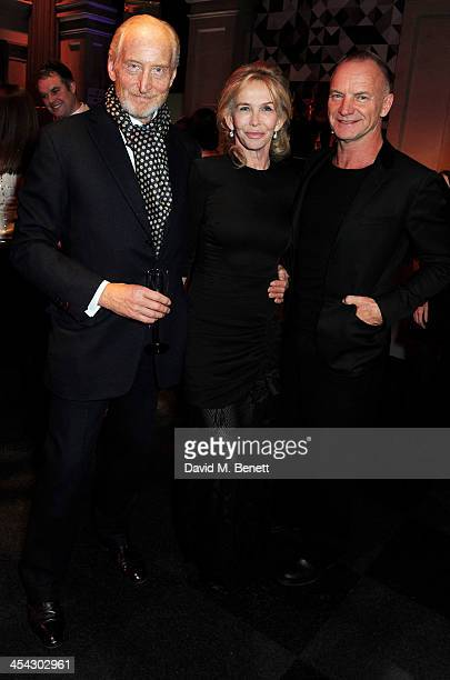 Charles Dance Trudie Styler and Sting attends the Moet Reception at the Moet British Independent Film Awards 2013 at Old Billingsgate Market on...