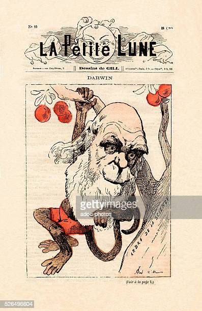 Charles Darwin caricatured as a monkey on the front page of La Petite Lune Ca 1879