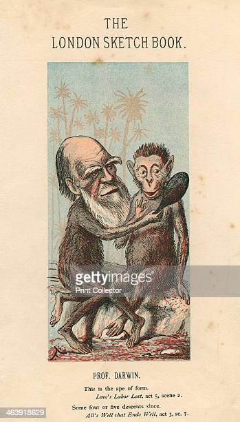 Charles Darwin English naturalist Cartoon depicting Darwin's head superimposed on an ape's body showing another ape its reflection in a mirror a...