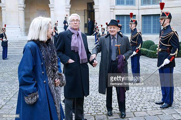 Charles de Croisset with his Martine Aublet and Pierre Berge attend Xavier Darcos becomes a Member of the Academie Francaise Official Ceremony at...