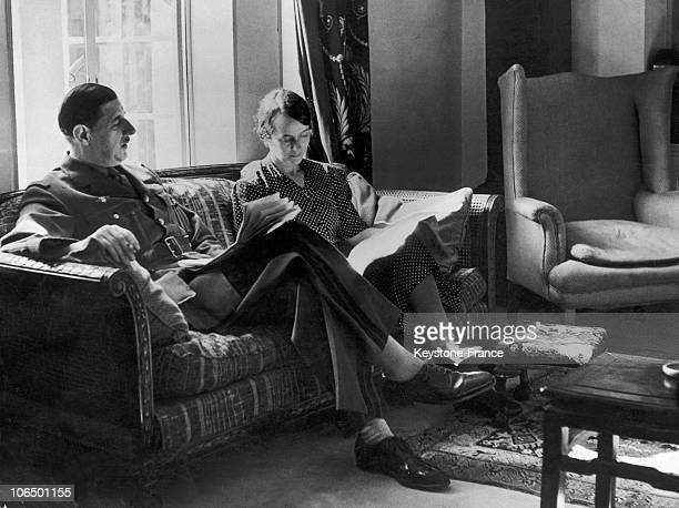 Charles De Gaulle And His Wife Yvonne In Their Flat In London In JanuaryFebruary 1943