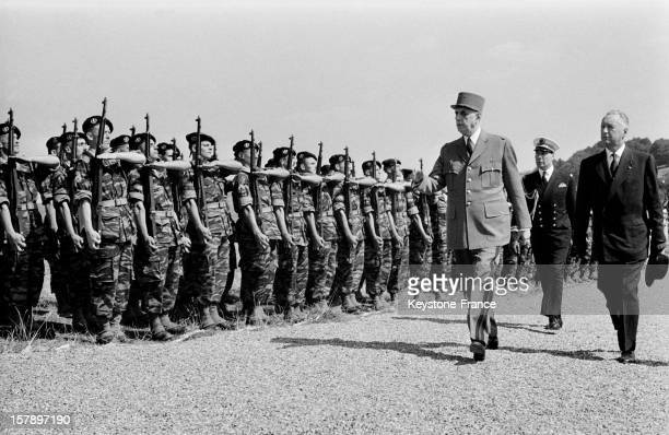 Charles De Gaulle And Minister Of Army Pierre Messmer Visit French Troops During Official Visit Of General De Gaulle In Germany September 1962