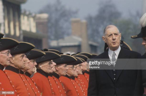 Charles de Gaulle French President inspecting the Chelsea Pensioners in London during a state visit to Great Britain April 1960