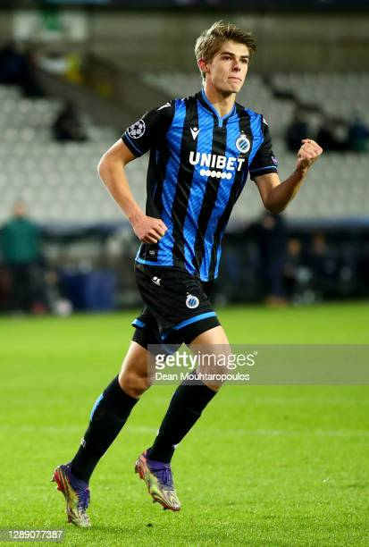 Charles De Ketelaere of Club Brugge celebrates after scoring their sides first goal during the UEFA Champions League Group F stage match between Club...