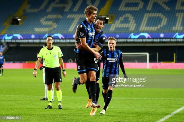 Charles De Ketelaere of Club Brugge celebrates after scoring their sides first goal with Federico Ricca of Club Brugge during the UEFA Champions...