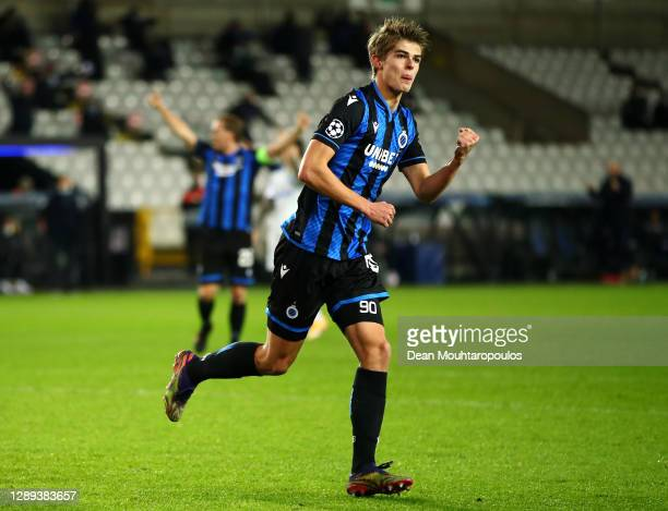 Charles De Ketelaere of Club Brugge KV celebrates scoring his teams first goal of the game during the UEFA Champions League Group F stage match...