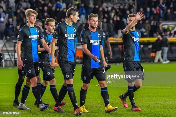 Charles de Ketelaere of Club Brugge, Ruud Vormer of Club Brugge, Hans Vanaken of Club Brugge, Mats Rits of Club Brugge, Siebe Schrijvers of Club...
