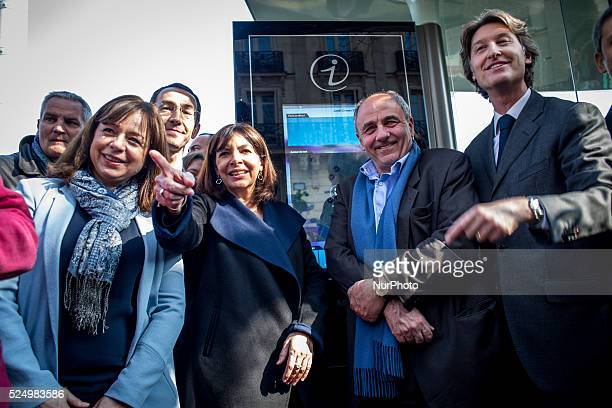 Charles Decaux co ceo of multinational advertising corporation JCDecaux during the eiveilling of the first intelligence bus stop fitted with a touch...