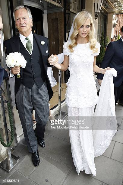 Charles Delevingne and Poppy Delevingne sighted leaving Claridges Hotel prior to Poppy's wedding on May 16 2014 in London England