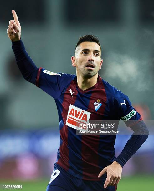 Charles Dias de Oliveira of SD Eibar celebrates after scoring his team's third goal during the La Liga match between SD Eibar and RCD Espanyol at...