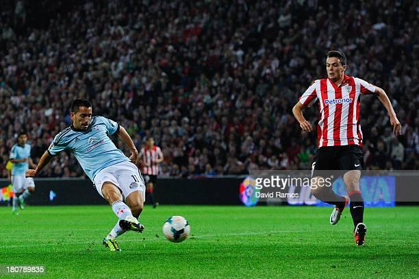 Charles Dias of RC Celta de Vigo scores the opening goal during the La Liga match between Athletic Club and RC Celta de Vigo at San Mames Stadium on...