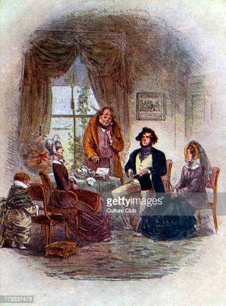 Charles Dickens David Copperfield Illustrates scene from chapter 14 After a picture by 'Phiz'Accompanying text 'You are the Mr Murdstone who married...