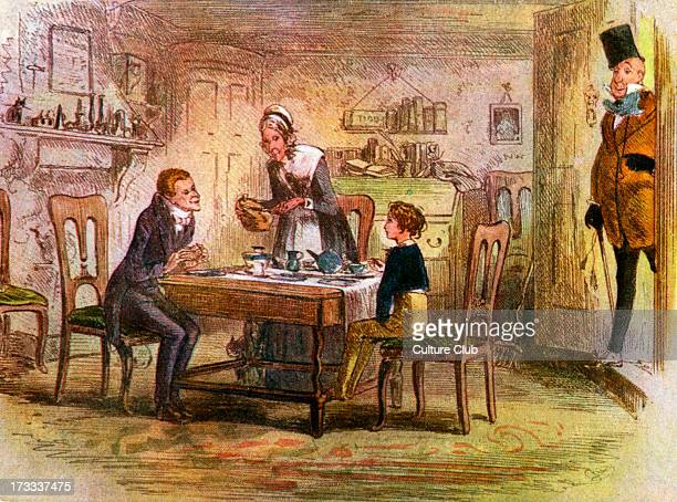 Charles Dickens David Copperfield Illustrates scene from chapter 17 After a picture by 'Phiz'Accompanying text 'It was Mr Micawber with his eyeglass...