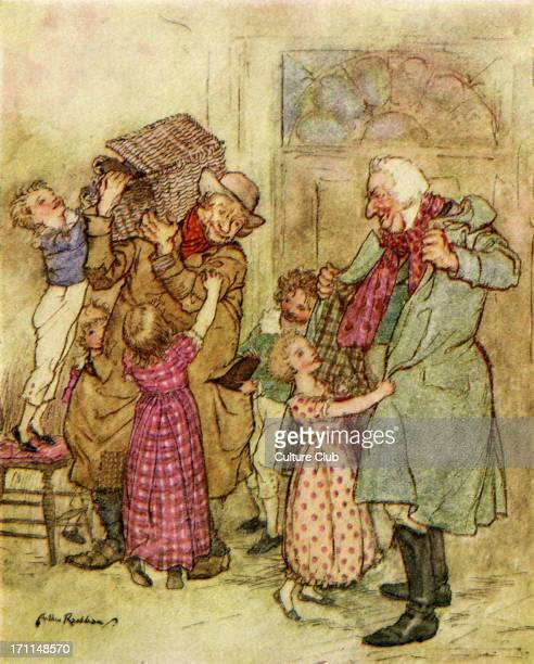 Charles Dickens 's 'A Christmas Carol' 'Laden with Christmas toys and presents' Illustration by Arthur Rackham 18671939 CD English novelist 7...