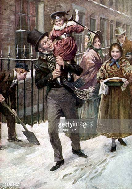 Charles Dickens 's 'A Christmas Carol' portrait of Bob Cratchit and Tiny Tim English author 7 February 1812 9 June 1870 Illustration by Harold...