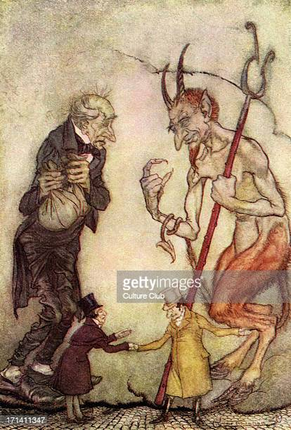 Charles Dickens 's 'A Christmas Carol' Scrooge with the Third Spirit the Ghost of Christmas Future Illustration by Arthur Rackham 18671939 CD English...