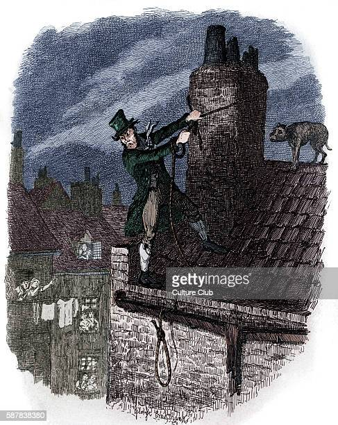 Charles Dickens s The Adventures of Oliver Twist Sikes on the roof just before his death English novelist 7 February 1812 – 9 June 1870 Illustration...