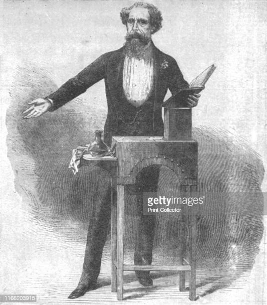 Charles Dickens's last reading at St. James's Hall, March 15 . British novelist Charles Dickens at his reading table during the 'Farewell Season' at...
