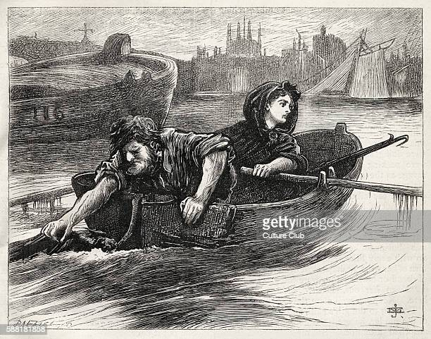 Charles Dickenss novel Our Mutual Friend illustration showing Lizzie and her father rowing along the Thames by J Mahoney Dickens British author 7...