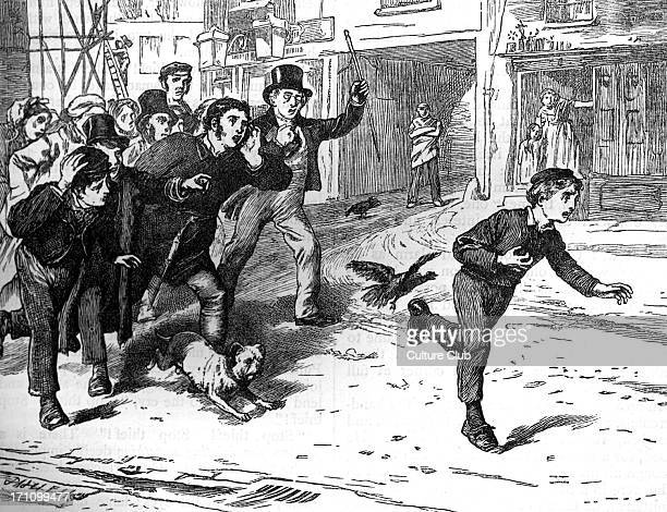 Charles Dickens's ' The Adventures of Oliver Twist ', first published 1838. Caption: ' Stop thief '. Description of scene: Oliver is pursued by an...