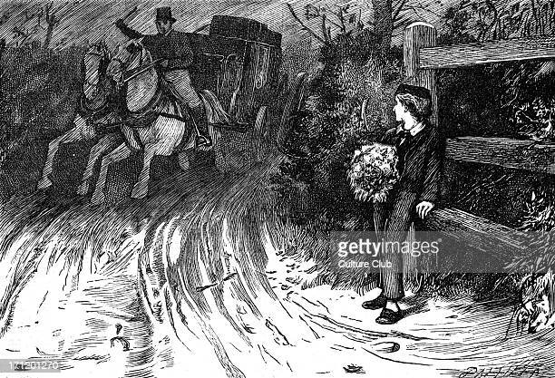 Charles Dickens's ' The Adventures of Oliver Twist ', first published 1838. Caption: 'Looking around, he saw that it was a post-chaise, driven at...