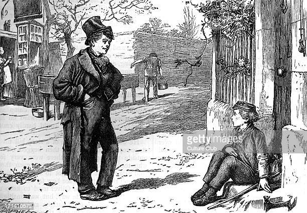 Charles Dickens's ' The Adventures of Oliver Twist ' first published 1838 Caption ' Hullo my covey What's the row ' Description of scene Oliver meets...