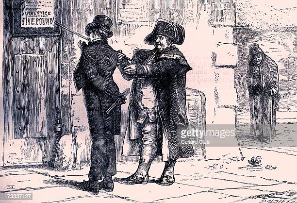 Charles Dickens's ' The Adventures of Oliver Twist ', first published 1838. Caption: ' Liberal terms, Mr Sowerberry, liberal terms! '. Description of...