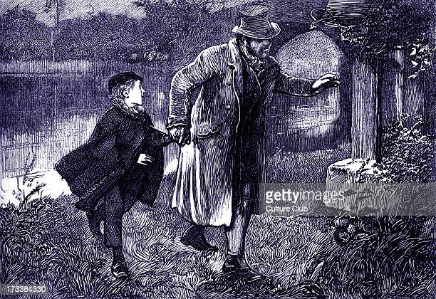Charles Dickens's ' The Adventures of Oliver Twist ', first published 1838. Caption: ' Sikes, with Oliver's hand in his, softly approached the low...