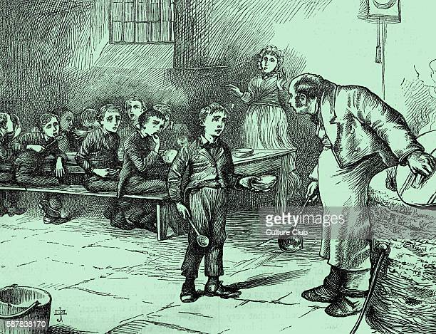Charles Dickenss The Adventures of Oliver Twist first published 1838 Description of scene Oliver asks the master of the workhouse for more food...