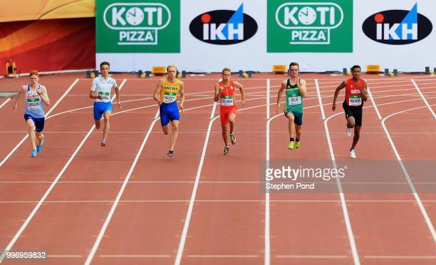 Charles Dobson of Great Britain leads his heat of the Men's 200m on day three of The IAAF World U20 Championships on July 12 2018 in Tampere Finland