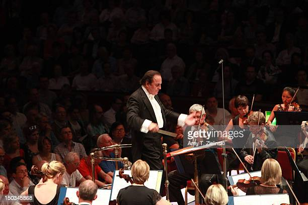 Charles Dutoit conducts the Royal Philharmonic Orchestra in 'Paris' by composer Frederick Delius during Prom 43 of the BBC Proms at Royal Albert Hall...