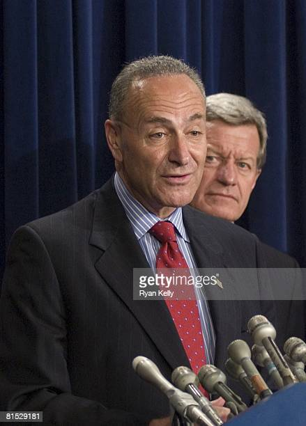 Charles E. Schumer , addresses the press after Senate Republicans blocked the Democrats efforts to further an energy bill designed to address high...