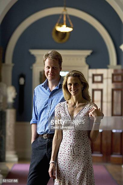 Charles Earl Spencer and his wife Caroline Countess Spencer pose for a portrait at the second annual Althorp Literary Festival held at their home...