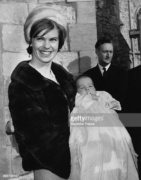 Charles Edward Ambler, son of Princess Margaretha of Sweden and of British businessman John Ambler, is christened during a religious ceremony at...