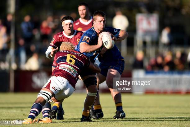 Charles Elton of Otago looks to pass during the round 9 Mitre 10 Cup match between Southland and Otago at Rugby Park Stadium on November 06, 2020 in...
