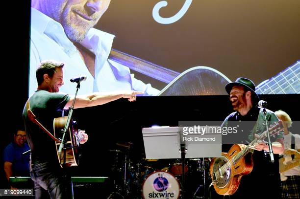 Charles Esten and Colin Linden performs onstage during rehersal for Charles #OneSingleYear Celebration Concert at CMA Theater at the Country Music...